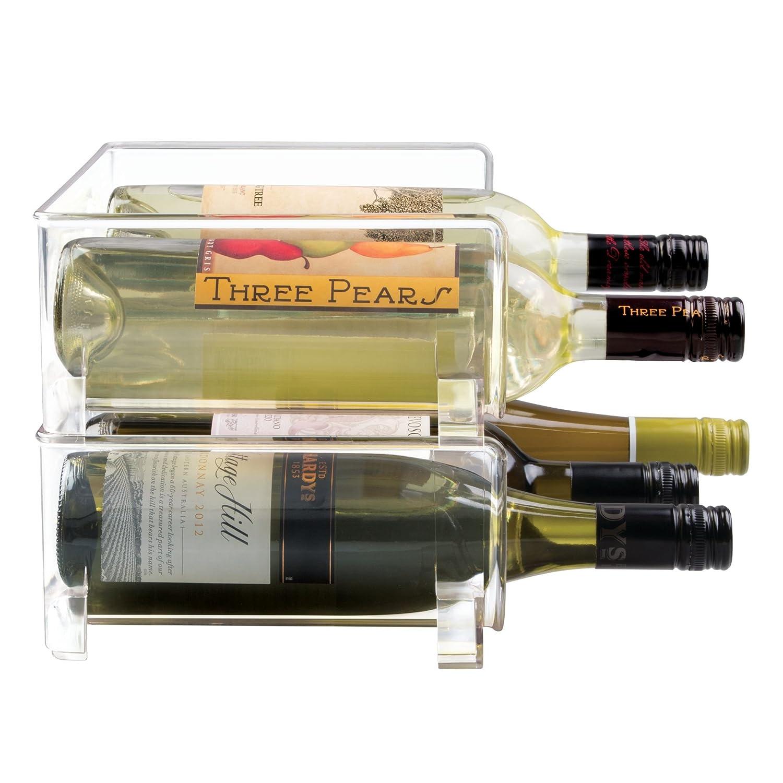 mDesign Stackable Wine Bottle Storage Rack for Kitchen Countertops