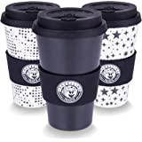 Bamboo Coffee Cup - Pack of 3 Black and White Design - Reusable Coffee Cup, Ideal Travel Mug with Anti drip lid Design by Travelling Panda