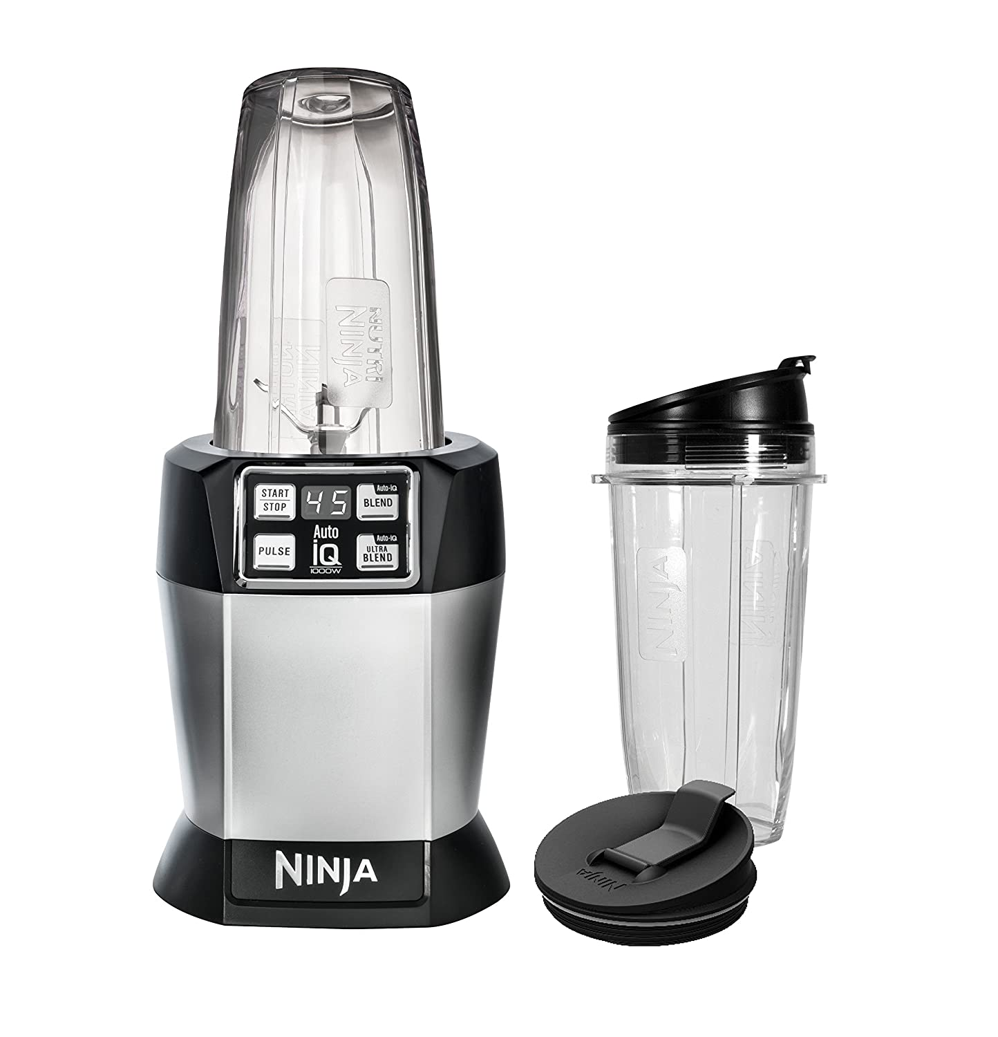 Ninja BL480D Nutri Ninja with 1000 Watt Auto-IQ Base for Juices, Shakes Smoothies Personal Blender 18 and 24 oz. Black Silver