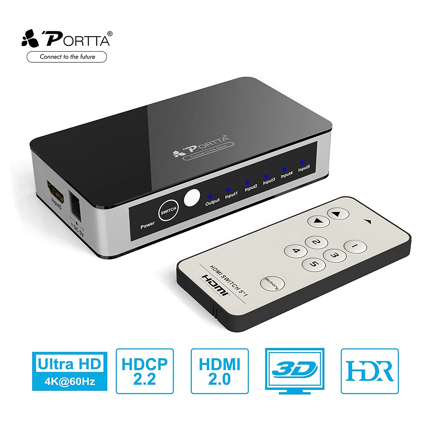 Portta HDMI Mini Switch/Switcher 5 Port 5x1 with IR Remote support 3D 1080p / 4K with Power Adapter POS41 N3SWT51