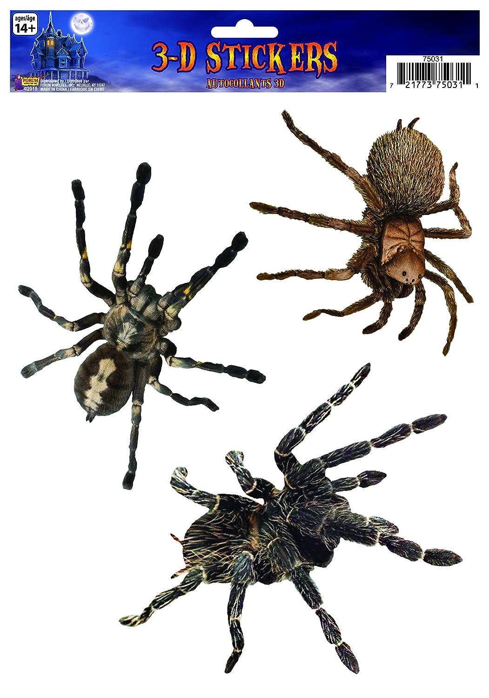 Forum Novelties 75031 3D Spider Window Stickers Brown//Black