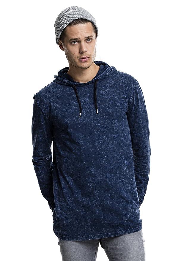 Mens Random Acid Cool Wash Long Sleeved Lightweight Cotton Hoodies Stylish Top