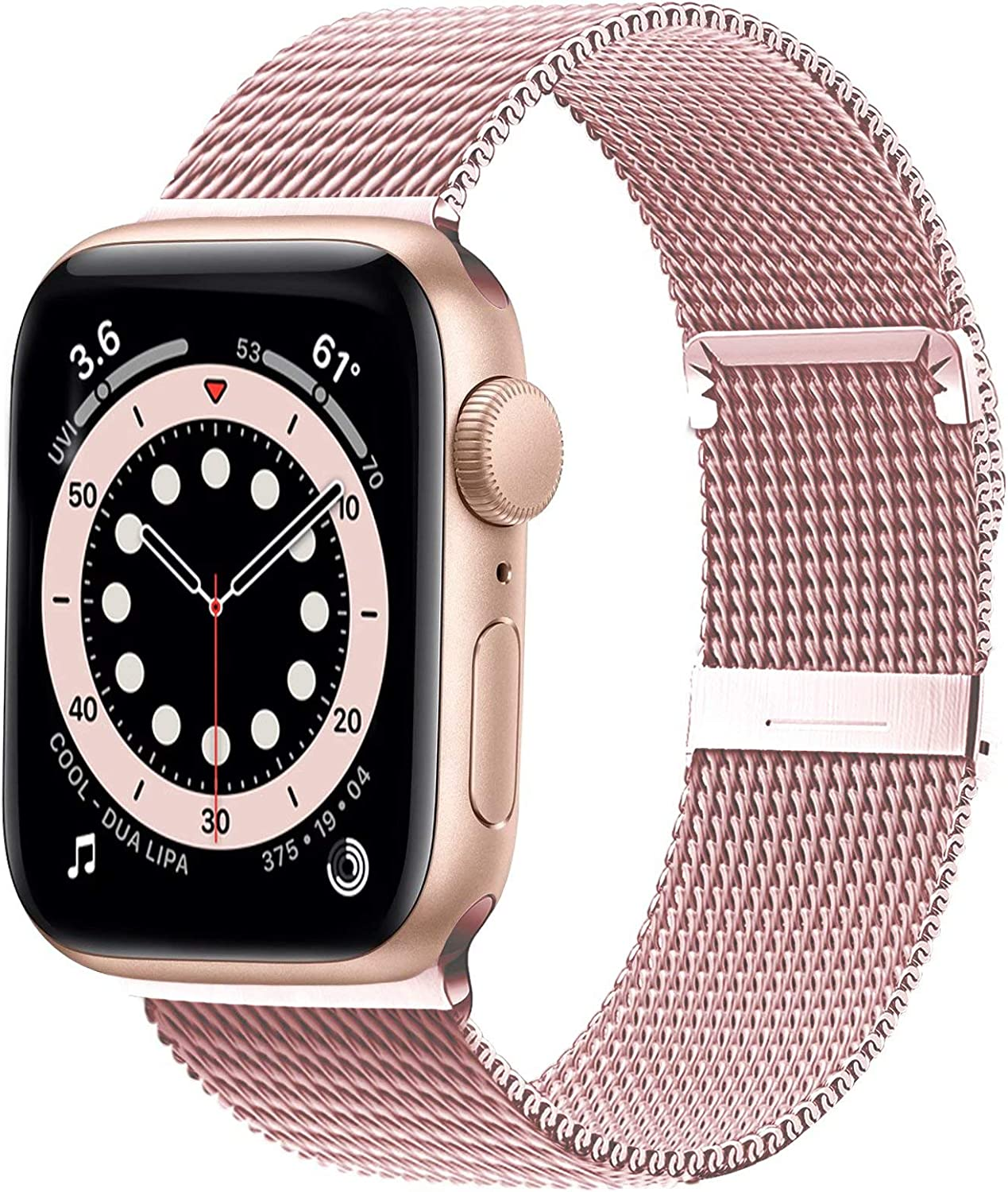 Ewsprou Magnetic Band Compatible with Apple Watch 38mm 40mm 42mm 44mm, Stainless Steel Mesh Strap Replacement for iWatch SE iWatch Series 6/5/4/3/2/1 Women Men (Rose Gold, 38mm 40mm)