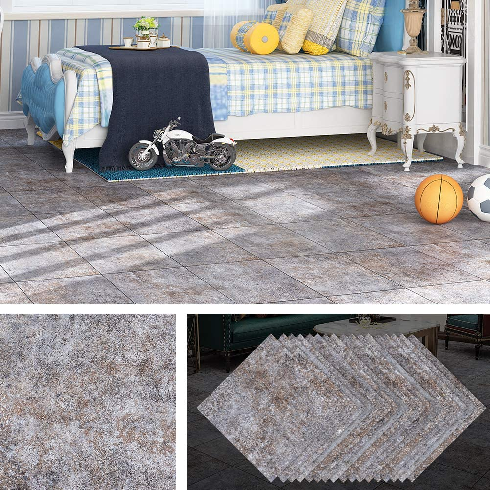 Livelynine Peel and Stick Tile Self Adhesive Vinyl Flooring for Porches Stairs RV Bedroom Flooring Tiles Wall Kitchen Waterproof Backsplash Peel and Stick Floor Tile Stickers 12x12 Inch 32 Pack