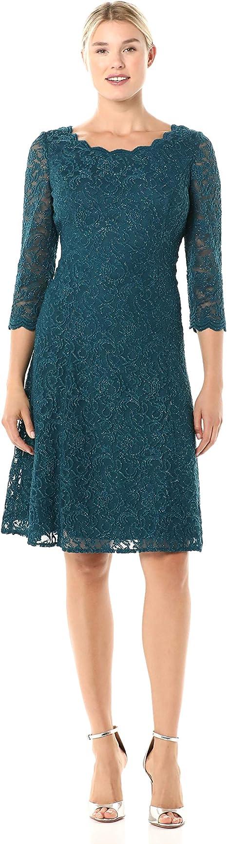 Alex Damen Midi Length Embroidered Party Dress Kleid für besondere Anlässe