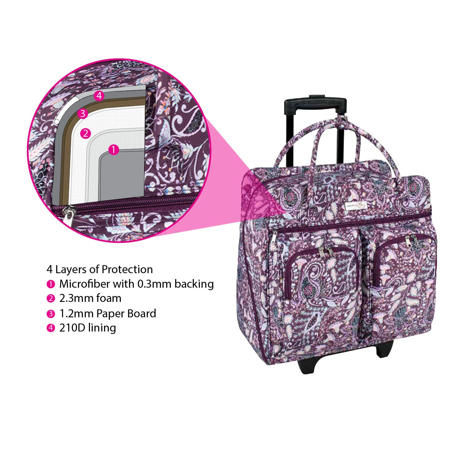 Sewing Machine Case Fits Most Brother /& Singer Sewing Machines Everything Mary Deluxe Purple Paisley Floral Rolling Sewing Case by Dena Designs Sewing Machine Bag with Dual Handles /& Wheels