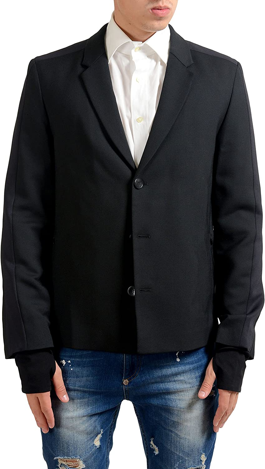 Hugo Boss Alekto Mens Wool Three Button Black Blazer Sport Coat US 38R IT 48R