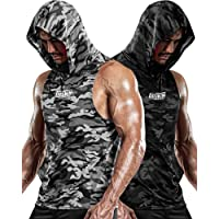 DRSKIN 1~2 Pack Men's Hooded Tank Tops Bodybuilding Muscle Cut Off T Shirt Sleeveless Gym Training Hoodies Workout Dry