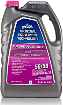PEAK OET Extended Life Pink 50/50 Prediluted Antifreeze/Coolant for European Vehicles, 1 Gal.