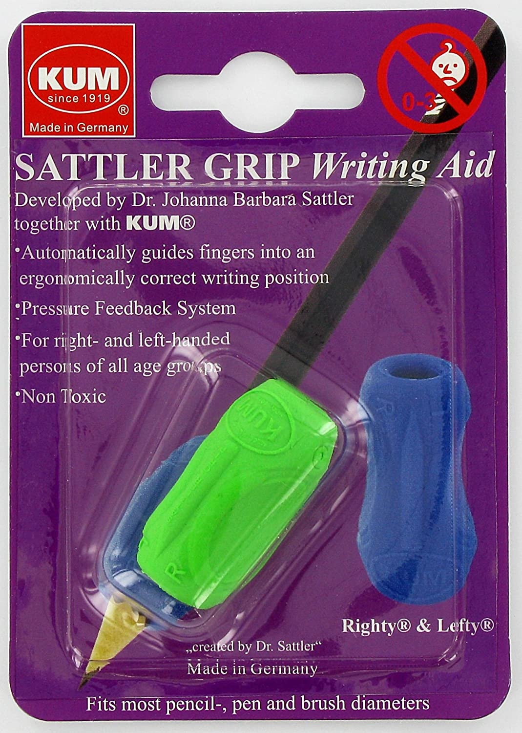 Kum 406.00.22 Non Toxic Writing Aid Sattler Grip, Colors Vary: Arts, Crafts & Sewing