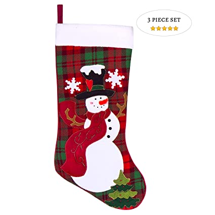 e4cc02a43c2 Prima Décor Embroidered Farmhouse Plaid Christmas Stockings Set of 3