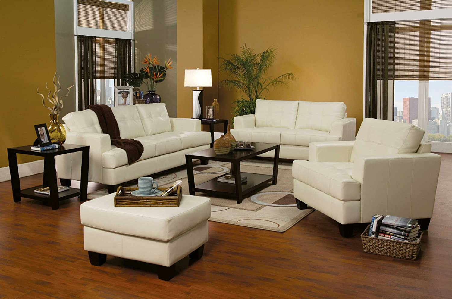 3 PCs Cream Classic Leather Sofa, Loveseat, and Chair Set