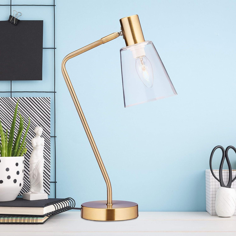 B/üro gold E27 HBT 52,5 x 13 x 30 cm Eisen verstellbare Tischlampe mit Glasschirm 40 W Relaxdays Schreibtischlampe