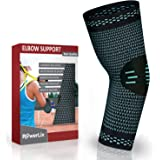 PowerLix Elbow Sleeve Compression Support Brace for Tendonitis, Tennis and Golfers Elbow Treatment, Arthritis, Workouts, Weightlifting - Reduce Joint Pain During Any Activity ( Pair)