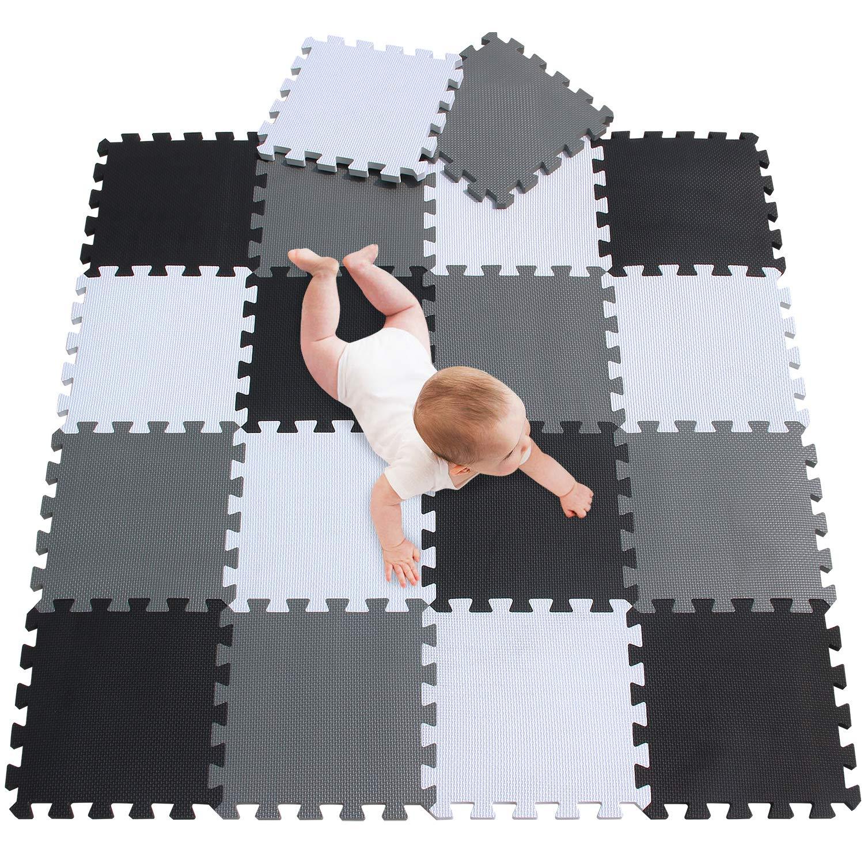 meiqicool Alfombra puzle 142 x 114cm Ni/ños 18 Piezas Cuadrado Goma Espuma EVA,Alfombra Puzzle para Ni/ños Bebe Infantil,esteras de 30x30cm Negro Marr/ón y Morado 040611