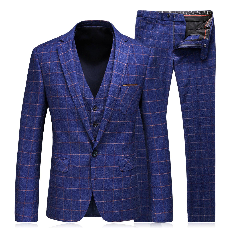 WEEN CHARM Men's 3-Piece Suit One Button Plaid Slim Fit Blazer Jacket Coat Vest & Pants