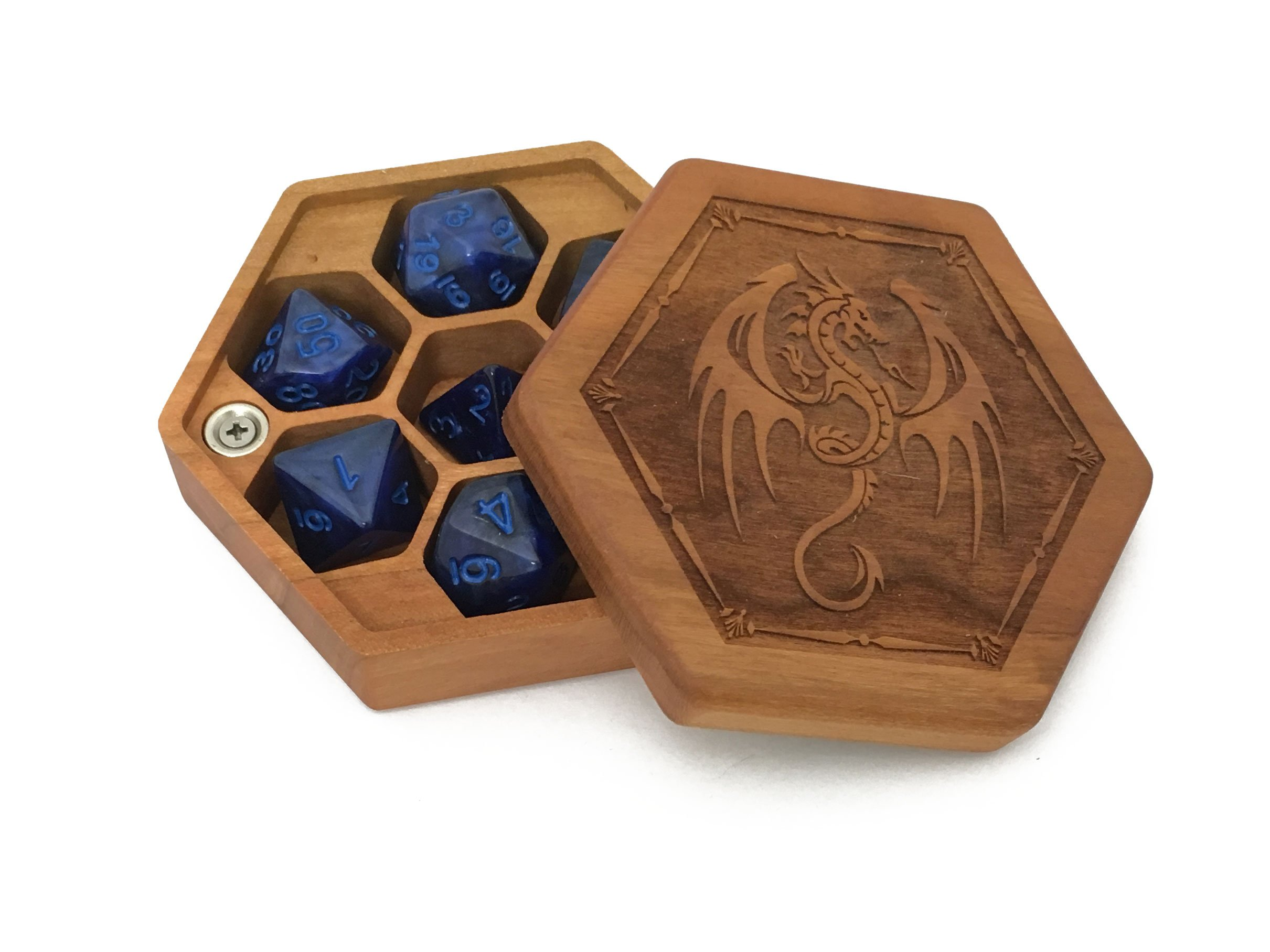 Pocket Sized Hex Dice Wood Chest with Magnetic Lid - Perfect for DnD, Magic the Gathering Dice Counters and Any Other Tabletop Games by Elderwood Academy (Cherry/Dragon)