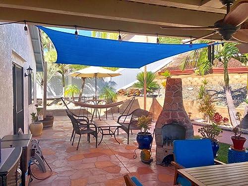 HENG FENG 10'x13' Blue Rectangle Sun Shade Sail UV Block