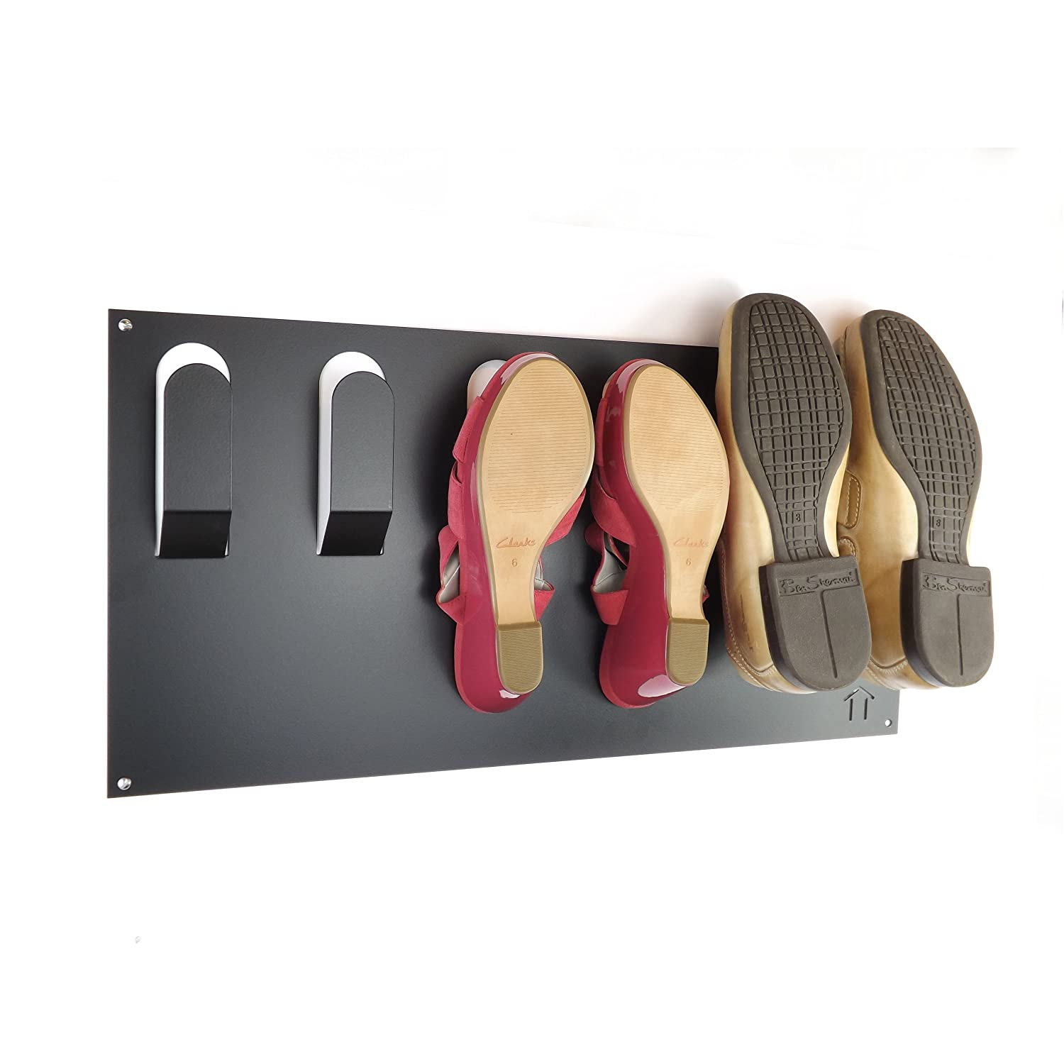 Stylish Wall Mounted Shoe Storage Rack by The Metal House Black