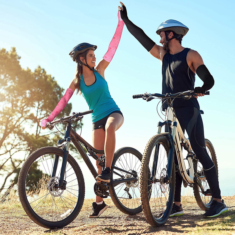 EXski Manchettes Protection UV Manches Bras Refroidissement Gants Longues pour Course Cyclisme Randonn/ée Velo Femme Homme