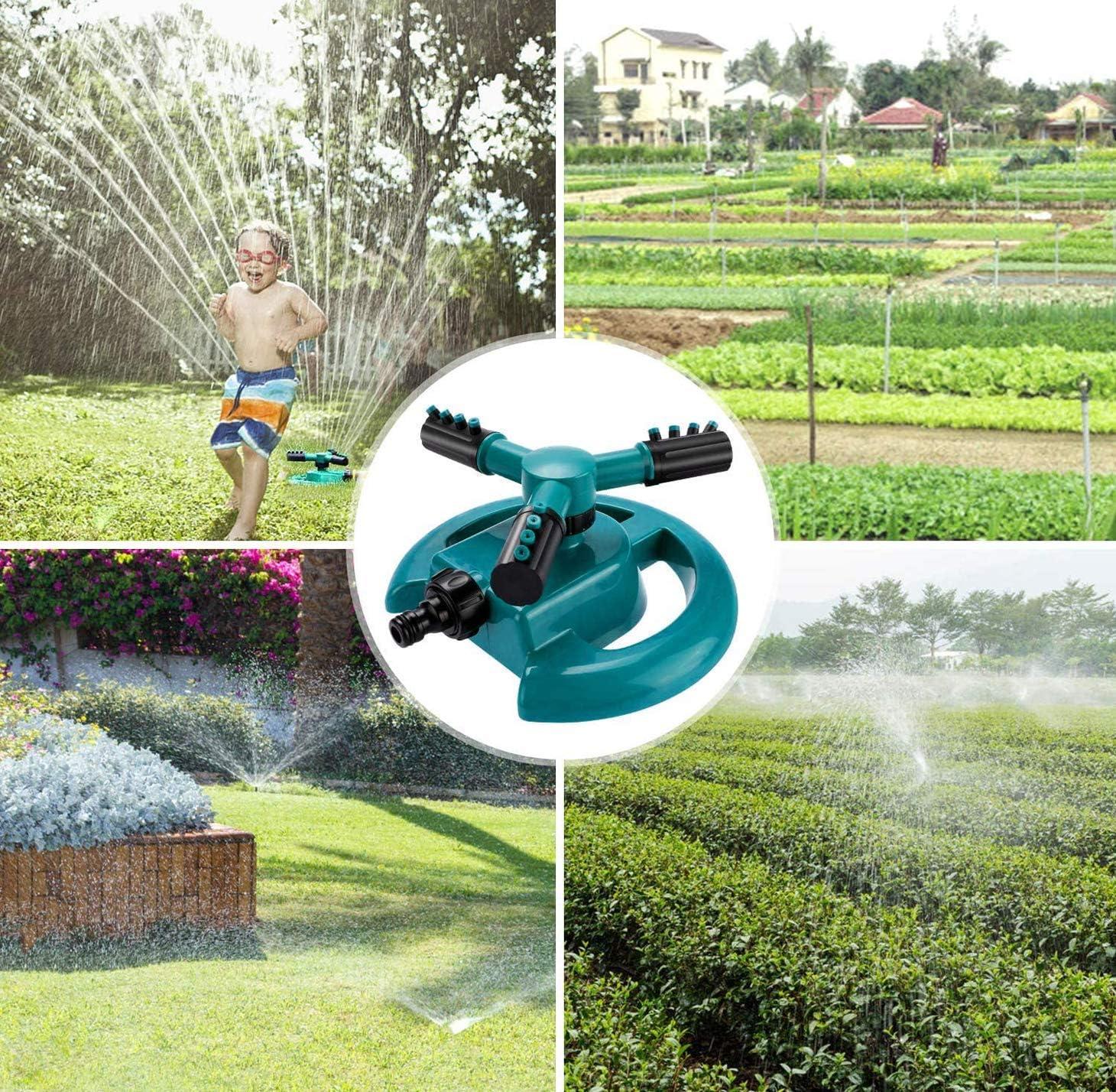 Aspersor de c/ésped giratorio de 360 /° Cobertura suministros de jardiner/ía ajustables aspersor de jard/ín autom/ático sistema de riego con boquilla de 3 brazos: agua de hasta 3,600 pies cuadrados Pie