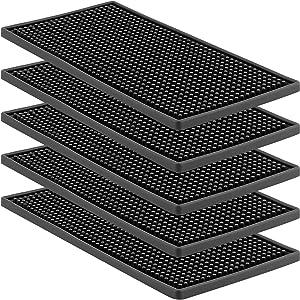 HOZEON 5 Pack 12 x 6 Inches Rubber Bar Service Mat, Non Slip Rubber Bar Spill Mat, Bar Mats for Countertop, Bar, Kitchen, Restaurant, Bartender, Hotel, Beverages, Furniture, Black