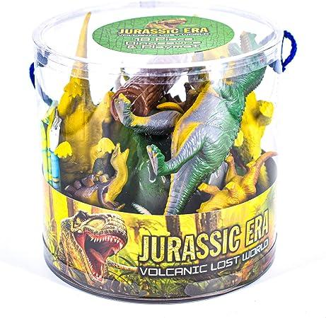 Jurassique Era 18 pièces Dinosaures Jeu Set en tube