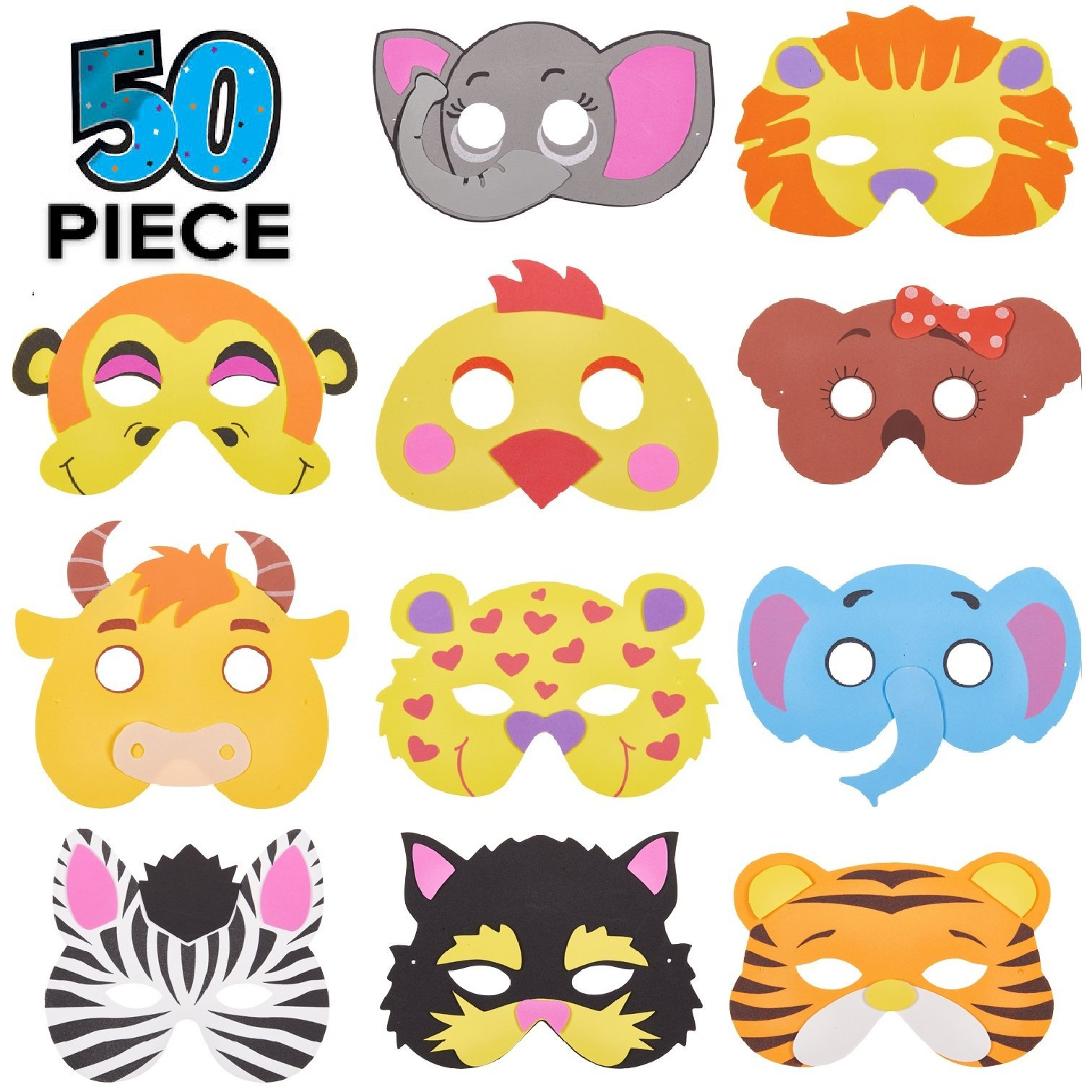 50 Piece Assorted Foam Animal Purim Masks Halloween Masks Dress-Up Party Accessory by Prextex