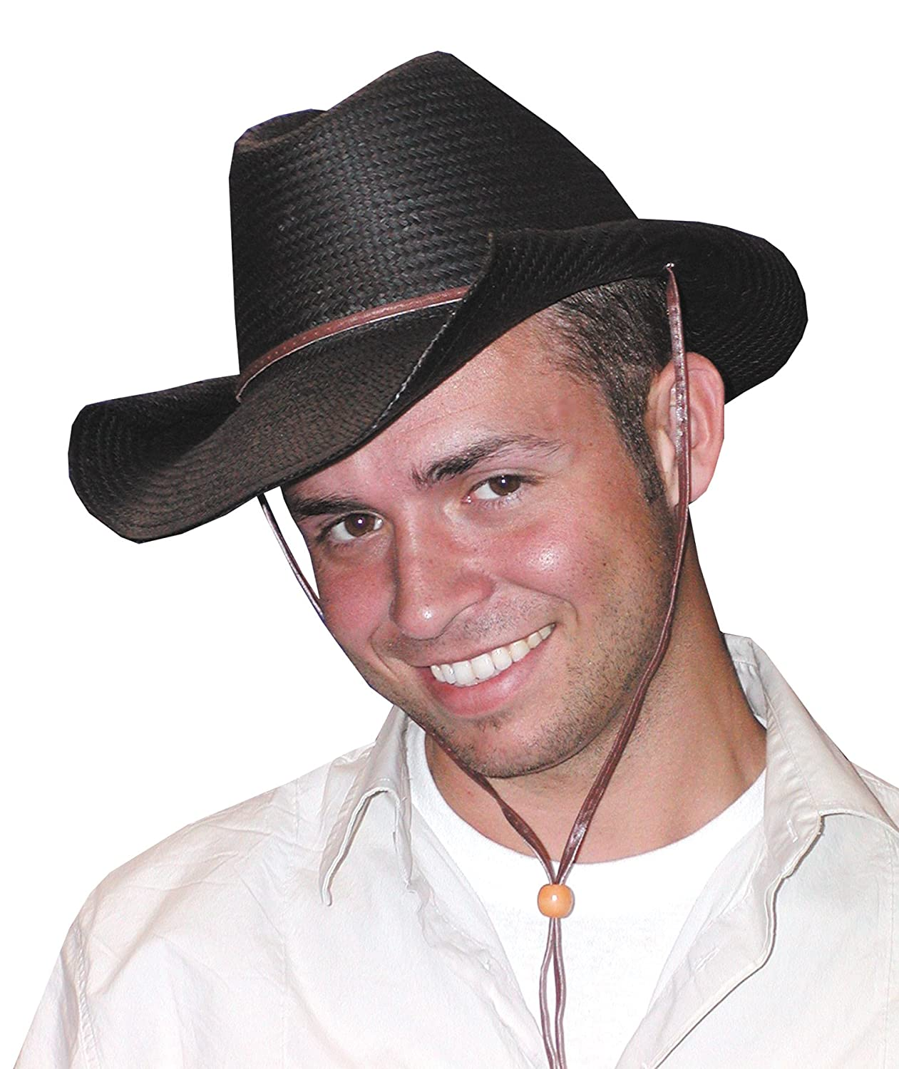 942370dc274 Amazon.com  UHC Straw Rolled Brim Cowboy Hat Adult Western Halloween  Costume Accessory (Black)  Clothing