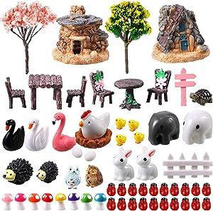Sumind 60 Pieces Miniature Fairy Garden Accessories Mini Animals Miniature Figurines Moss Landscape Garden DIY Ornaments for Outdoor Home Garden Decoration
