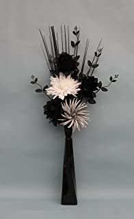 Simply gift solutions ltd artificial silk black silver glitter simply gift solutions ltd artificial silk black dragonwhite silver flowers in black twist mightylinksfo