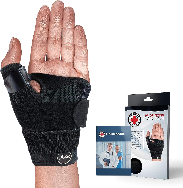 Desarrollado por Doctors Thumb Support & Wristbrace with Splint [Individual] - Manual médico - Alivia los esguinces de artritis RSI y más, se ajusta a la mano izquierda y derecha