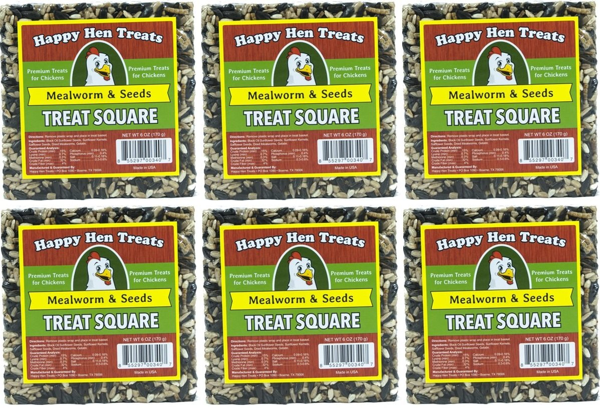 (Case of 6) Happy Hen Treats 6-Ounce. Square-Mealworm and Seed, 4.25 x 4.25 x 1.25 Inches by Happy Hen