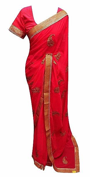 Desi Sarees Womens Formal Wear Saree Stitched Blouse 7205