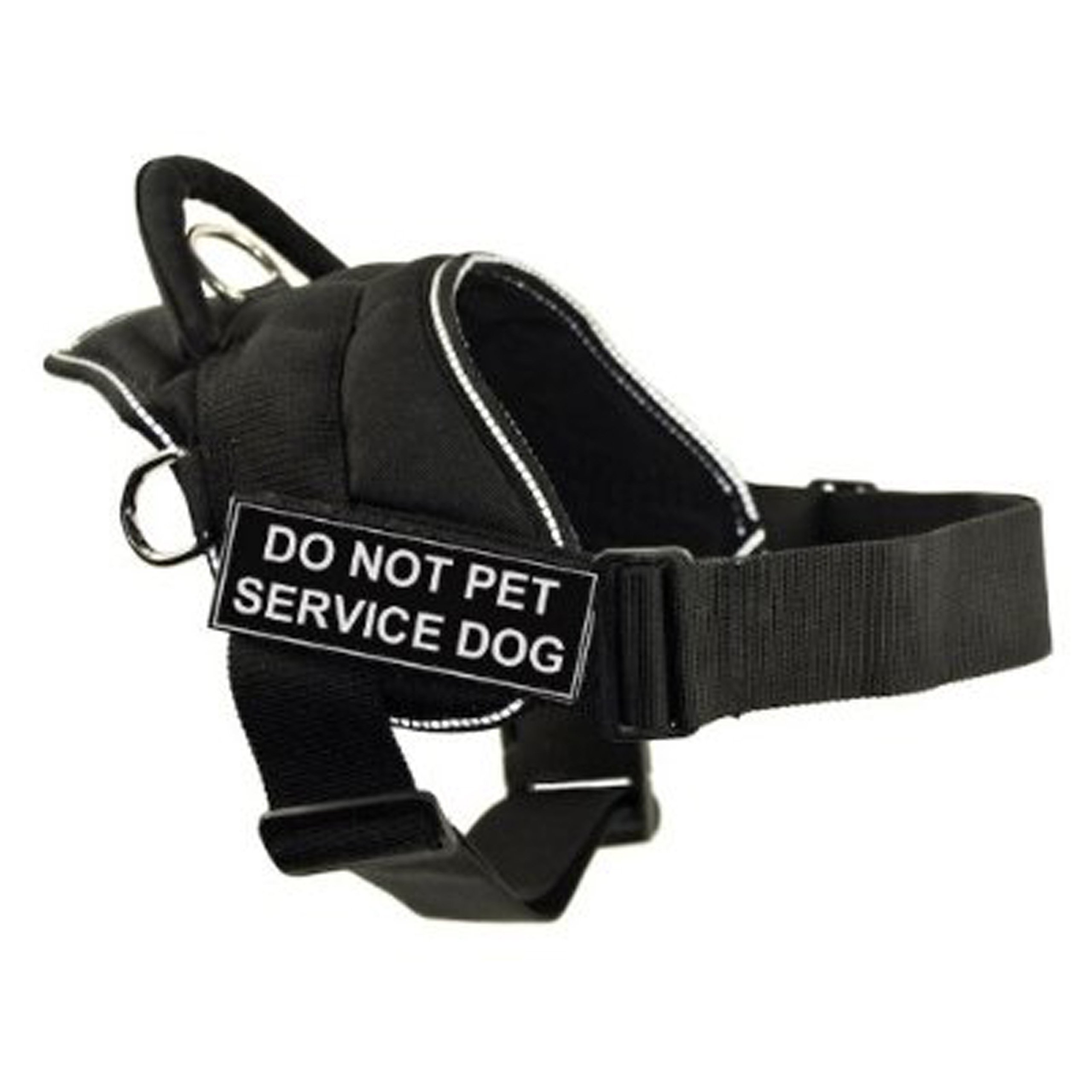 DT Fun Works Harness, Do Not Pet Service Dog, Black With Reflective Trim, Small - Fits Girth Size: 22-Inch to 27-Inch