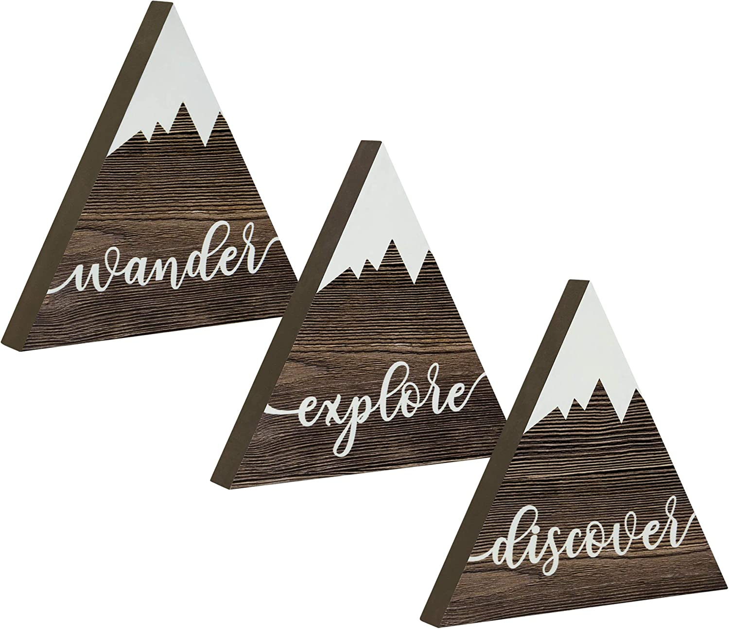 Riverside Rustics Hanging or Standing Wooden Mountain Decor - Woodland Adventure Newborn Baby Girl, Boy or Gender Neutral Nursery Table, Wall and Shelf Decoration - Wander Explore Discover, Set of 3
