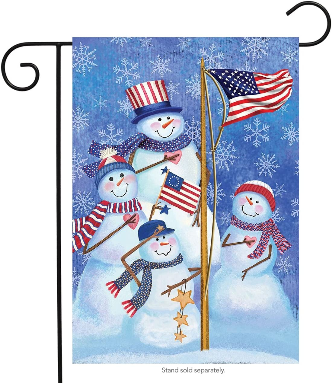 Briarwood Lane Patriotic Snowmen Winter Garden Flag American Flag Snowman Family 12.5