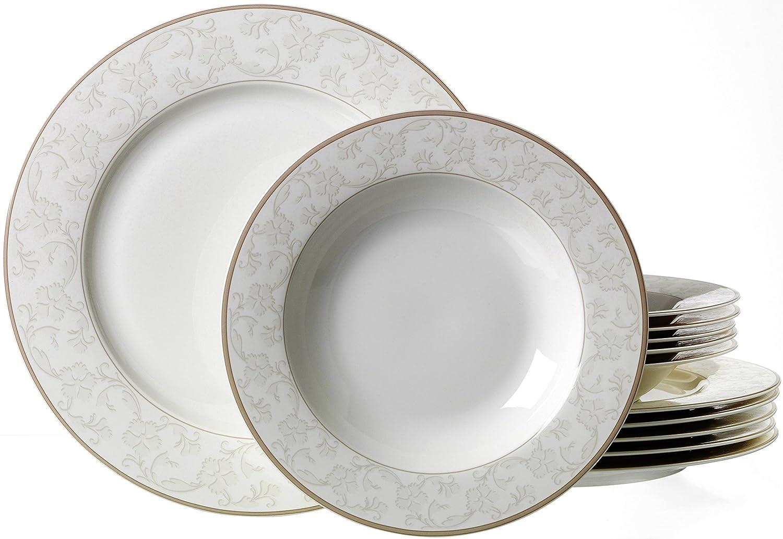 Genial Ritzenhoff U0026 Breker Tafelservice Isabella, 12 Teilig, Fine China  Porzellangeschirr, Weiß Mit Ornamenten: Amazon.de: Küche U0026 Haushalt