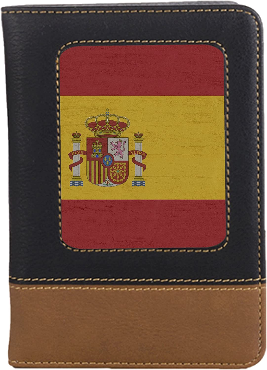 Spain Flag Leatherette Passport Wallet Style Case Cover For Travel