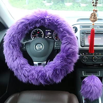"Ogrmar Winter Warm Faux Wool Steering Wheel Cover with Handbrake Cover & Gear Shift Cover for 14.96"" X 14.96"" Steeling Wheel in Diameter 1 Set 3 Pcs (Purple): Automotive"