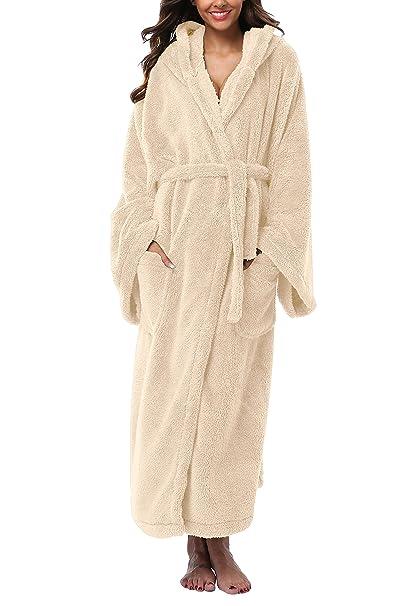 74a1096083 Women s Long Hooded Plush Bathrobe Soft Fleece Robe Velvet Bathrobe  Sleepwear Warm Nightgown Pink ...
