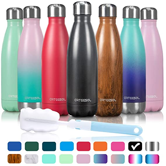 Arteesol Water Bottle | Leakproof Cola Shape Bottle Keep Hot&Cold | Double Wall Vacuum 18/8 Stainless Steel Bottle | Narrow Mouth Personalized Texture For Outdoor Activities by Arteesol