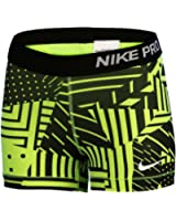 "Nike Women's Dri-Fit Pro Patch Work 3"" Running Shorts-Volt/Black"