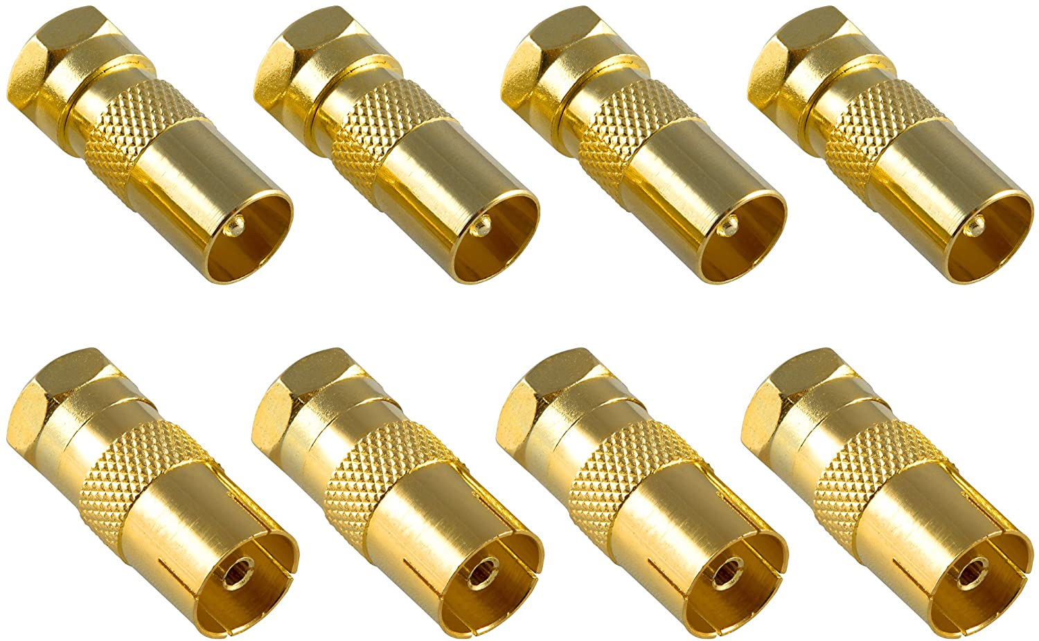 Poppstar - 8X Sat Adapter coaxial Antenna (4X F-Plug to IEC Antenna Plug, 4X to Antenna Socket), Gold Plated