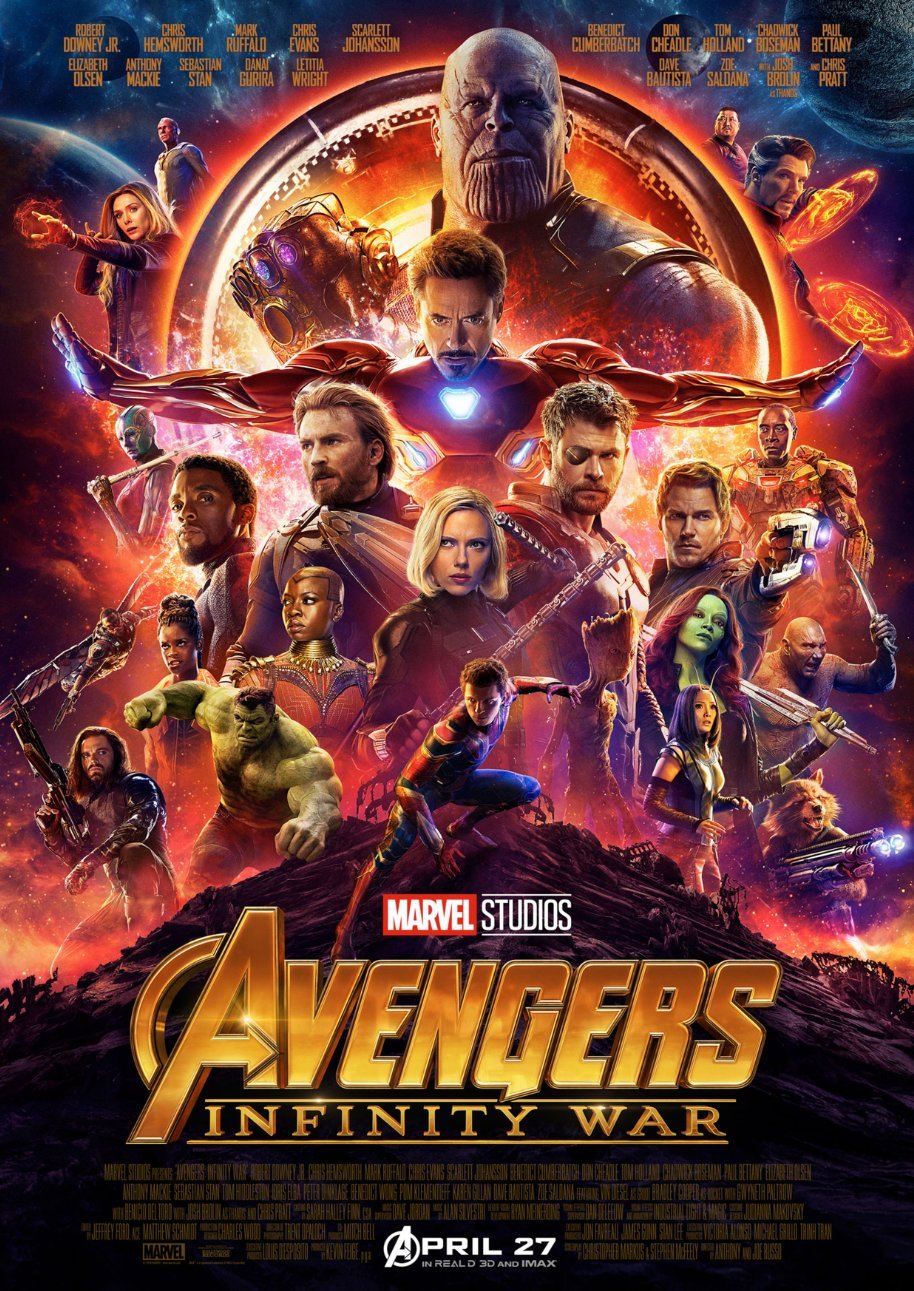 Avengers Infinity War Poster Borderless Vibrant Premium Glossy Movie Poster Various Sizes (A1 Size 33.1 x 23.4 Inch / 841 x 594 mm) CoolPrintsUK