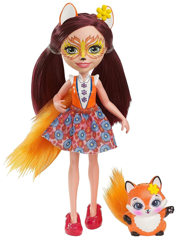 Enchantimals Mini-poupée Felicity Renard et Figurine Animale Flick, brune avec jupe à motifs en tissu, jouet enfant, DVH89 Mattel