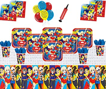 DC Super Hero Girls Party Supplies Decoración de vajilla de cumpleaños para niños DC Comics Party Pack 16 - Super Girls Globos Plate Cup Servilleta ...