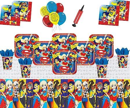 DC Super Hero Girls Party Supplies Decoración de vajilla de cumpleaños para niños DC Comics Party Pack 16 - Super Girls Globos Plate Cup Servilleta ...