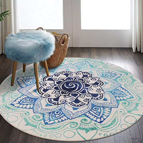 LEEVAN Faux Wool Area Rug 4ft Round Traditional Throw Runner Rug Non-Slip Backing Soft Wool Floor Carpet