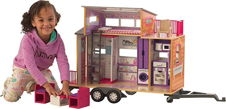 Kidkraft 65948 Maison De Poupees En Bois Teeny House Incluant Accessoires Et Mobilier 2 Etages De Jeu Pour Poupees 30 Cm